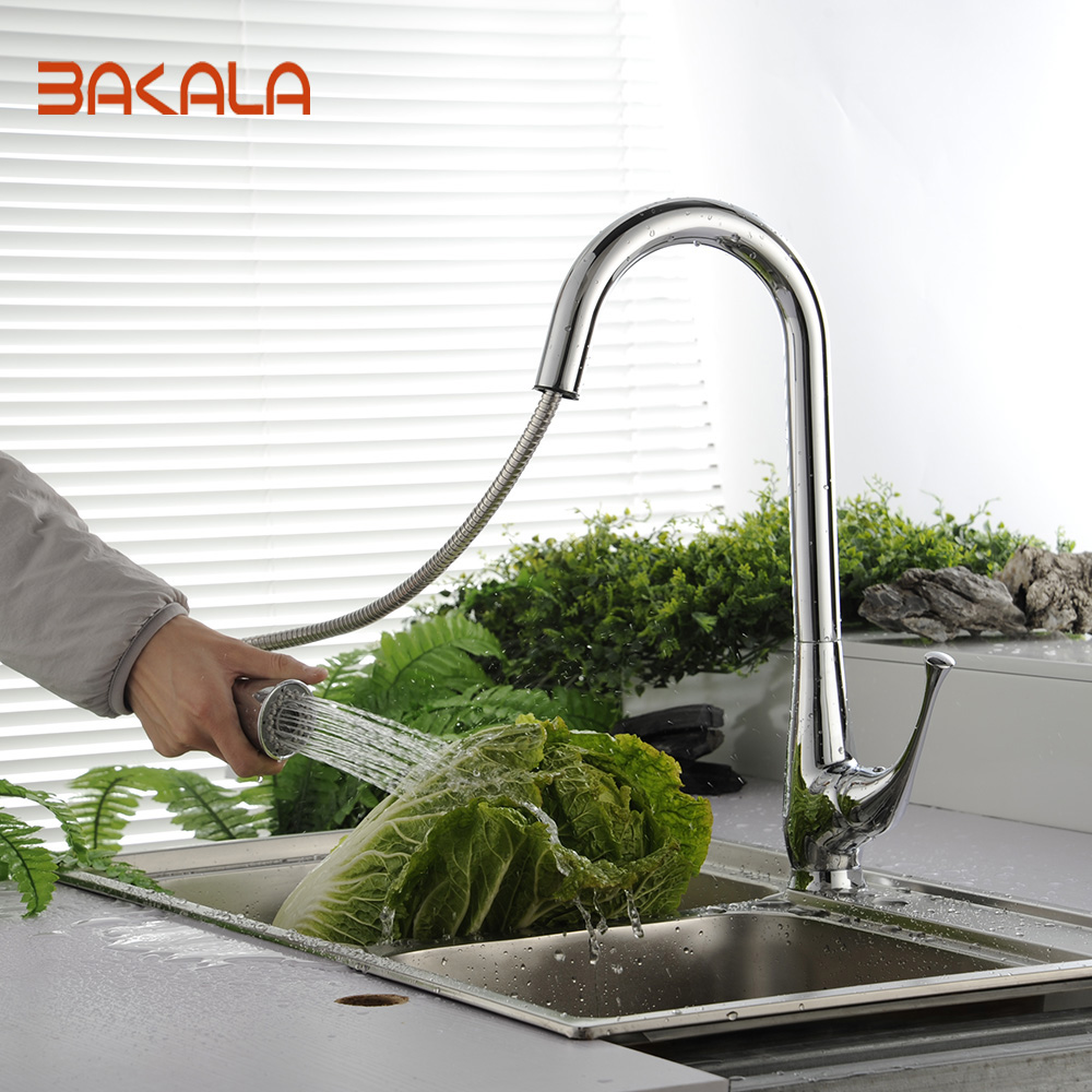 BAKALA torneira cozinha Chrome Finished Pull Out& Swivel Kitchen Sink Faucet Taps robinet cuisine LH-8117 good quality chrome finished pull out