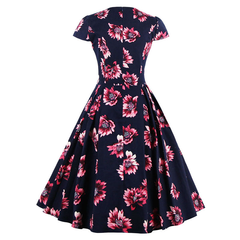 Kostlish Brand 2017 New Summer Dress Women Short Sleeve Slim 50s 60s Vintage Dress Elegant Print Swing Rockabilly Party Dresses (9)