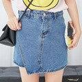 Novo estilo de Jeans verão mulheres moda algodão Irregular saias Feminino fino cintura alta Shorts Jeans Feminino