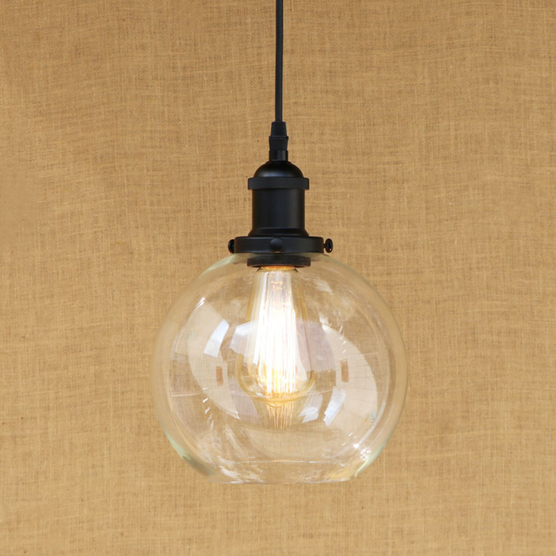 Modern Spherical glass shade pendant lamp Edison bulb Pendant Light Fixture For Kitchen Lights/dining room/bar E27 220V modern 3 6 lights crystal glass clear wineglass wine glass ceiling light lamp bedroom dining room fixture gift ems ship