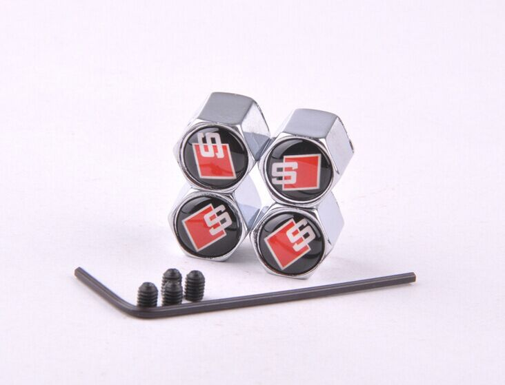 Free Shipping Theftproof Stainless Steel Black 4PCS Car Wheel Tire Valves Tyre Stem Air Caps Airtight Cover for S Line