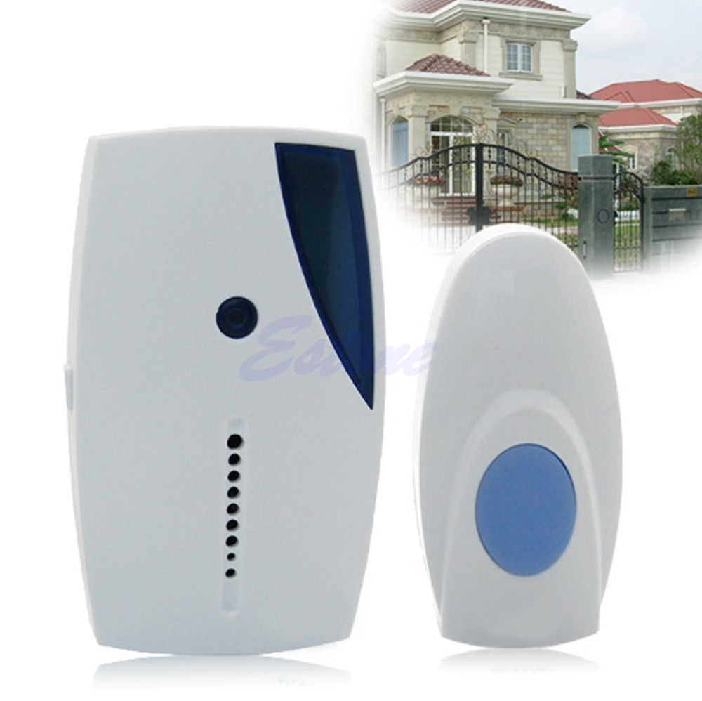 OOTDTY Plastic Doorbell Control Receiver Door Bell Wireless Remote Button 36 Music Chimes Songs With LED Indicator