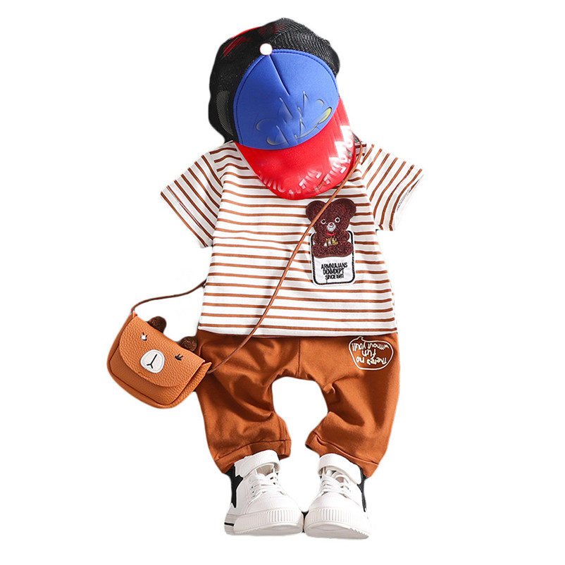 2018 NEW Summer Fashion Summer Casual Children Kid Cartoon Cotton Stripe T-Shirt Shorts Pants Set Children Clothing ...