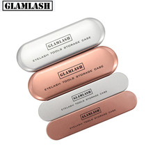 GLAMLASH Tinplate Tweezers Case Rose Gold/Silver Storage Box Makeup Tools