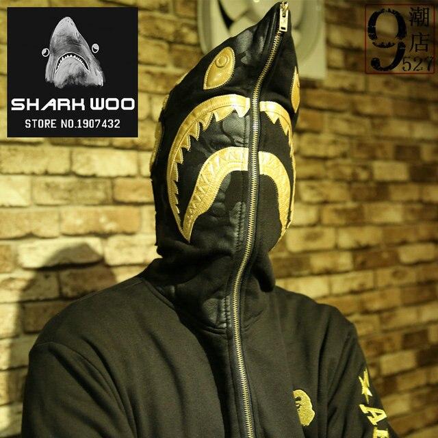 55e4daee2bad Bape shark hoodies men High quality Metal tag brand newest Gold shark head  bape sweatshirts jacket coats mens sport tracksuits