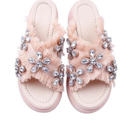 Choudory Brand 2017 Summer Flat Platform Sandal sexy open toe crystal embellished slipper for woman rhinestones flower flat shoe тайфун та 4015 s