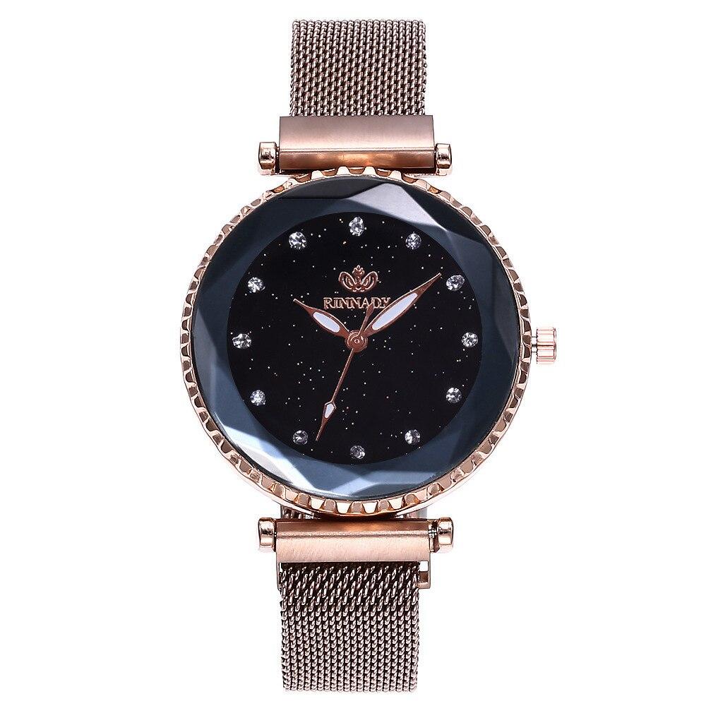 Top Brand Watches For Woman Black Mesh Magnet Buckle Starry Quartz Watch Geometric Surface Casual Fashion Women Wristwatch Clock