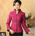 Promotion Hot Pink Lady Linen Cotton Outwear Chinese Style Top Mandarin Collar Costume Tang Suit Size S M L XL XXL XXXL T019