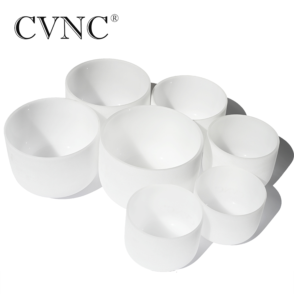 Chakras tuned set of 7 frosted quartz crystal singing bowls - all 10 inch