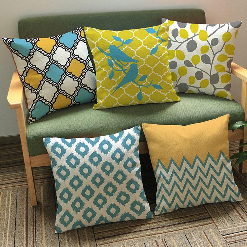 Modern Pastoral Geometric Decorative Pillows Birds Print Cushions Design  Leaves Polyester Home Throw Pillow Capa De