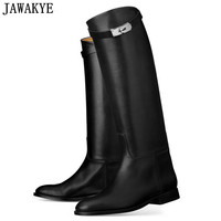 JAWAKYE designer genuine Leather long boots Woman Motorcycle Booties Belt Strap Metal Shark Lock flat heel Knee High Boots