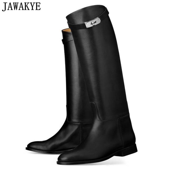 2198fd235bbe JAWAKYE designer genuine Leather long boots Woman Motorcycle Booties Belt  Strap Metal Shark Lock flat heel Knee High Boots