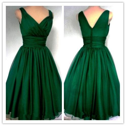 6a381da35b2 2016 New Arrival Hot Emerald Green 1950s Cocktail Dress Vintage Tea Length  Plus Size Chiffon Overlay Elegant Prom Party Dress