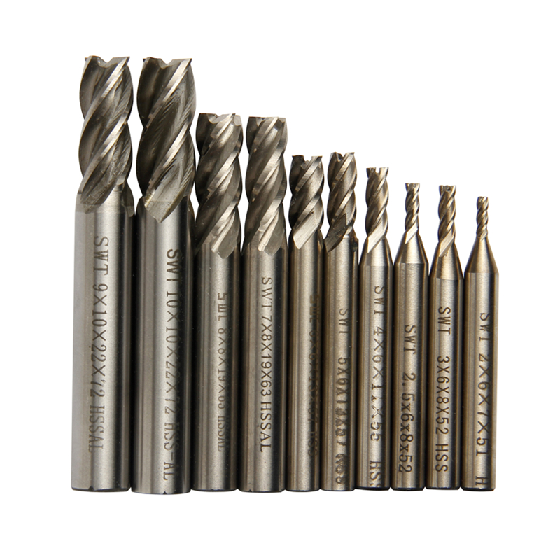 Carbide End Mill CNC Tools HSS Diameter 2-10mm 10pcs/set 4 Blades Flute Milling Cutter Router Bit CNC Mill Drill Bit new end mill cnc tools hss al diameter 6mm 1pcs 2 blades flute milling cutter router bit cnc mill drill bit