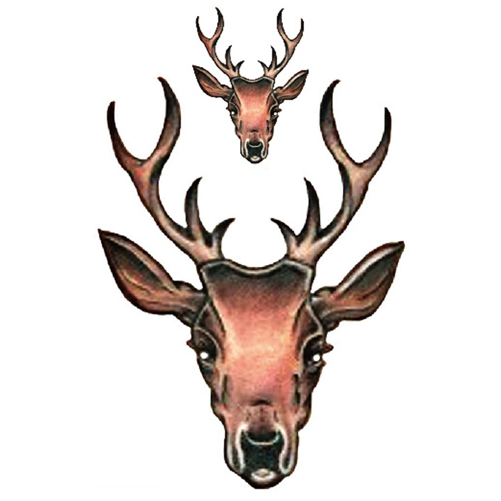 Yeeech Temporary Tattoos Sticker for Men Women Fake Elk Animal Designs Couple Arm Leg Body Art Waterproof Long Lasting Makeup