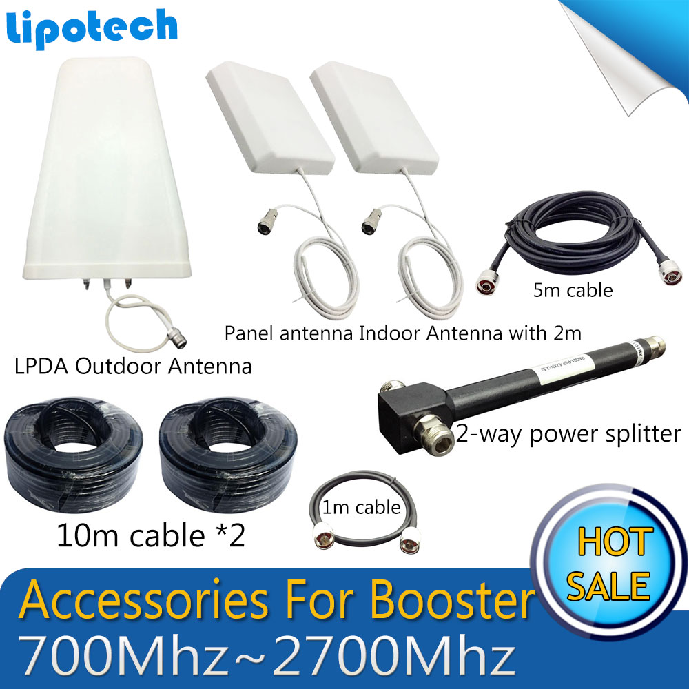 Full Sets Accessories 700-2700MHz Log-periodic Outdoor Antenna indoor Antenna Cables For GSM UMTS 3G 4G Mobile Signal repeaterFull Sets Accessories 700-2700MHz Log-periodic Outdoor Antenna indoor Antenna Cables For GSM UMTS 3G 4G Mobile Signal repeater
