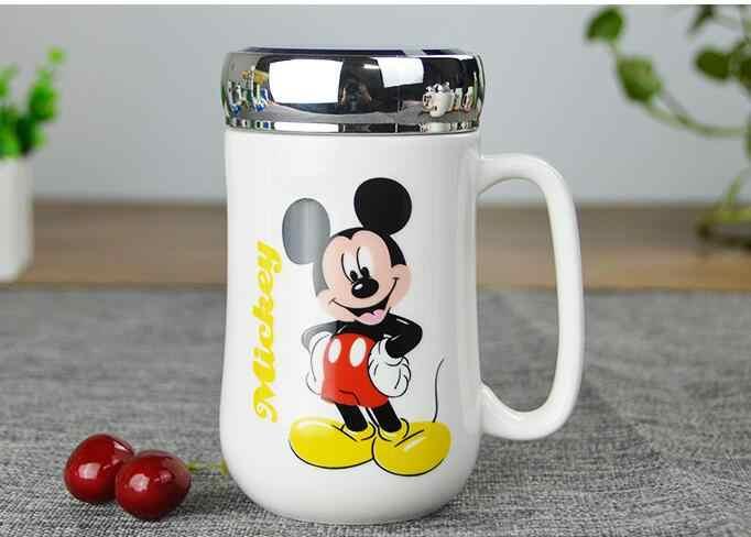 1 Pcs Del Fumetto di Mickey Minnie Latte di Caffè di Ceramica Tazza di Tè Tazza di Best Regalo Di Natale Per La Ragazza Senza Cucchiaio