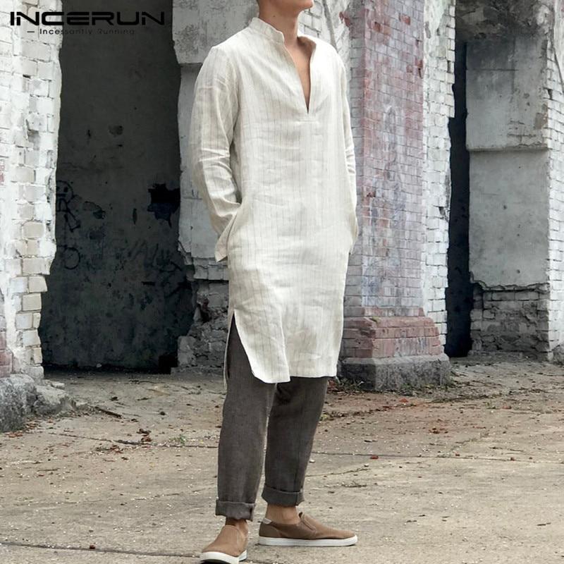 INCERUN Vintage Men Striped Shirt V Neck Loose Long Sleeve Indian Suit Casual Long Tunic Shirts Men Muslim Kaftan 5XL 2020