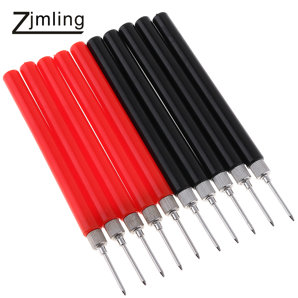 10pcs! Spring Test Probe Tip Needle Insulated Test Hook Wire Connector Test Leads Pin for Digital Multimeter Multi Meter