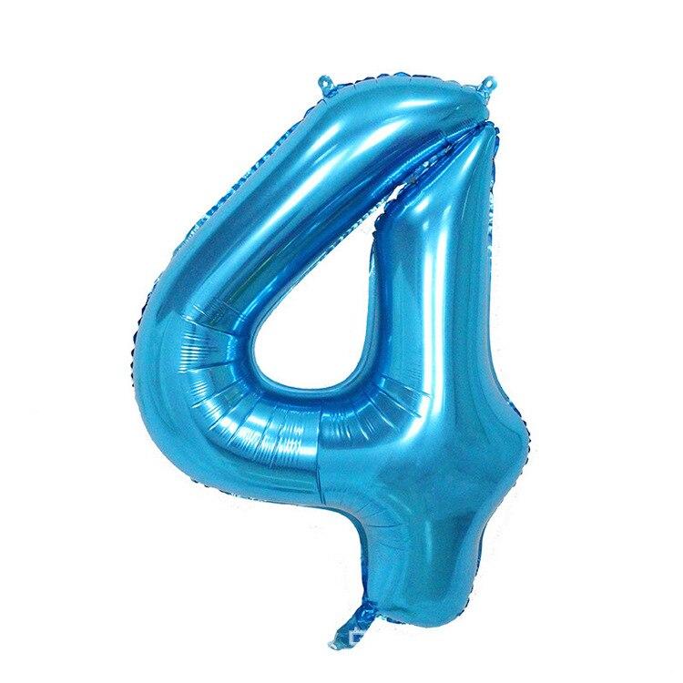 32 дюйма розовый синий 40 дюймов красный фольгированный шар большой гелиевый номер 0-9 Globo день рождения для детей Вечеринка мультфильм шляпа Декор - Цвет: blue 4
