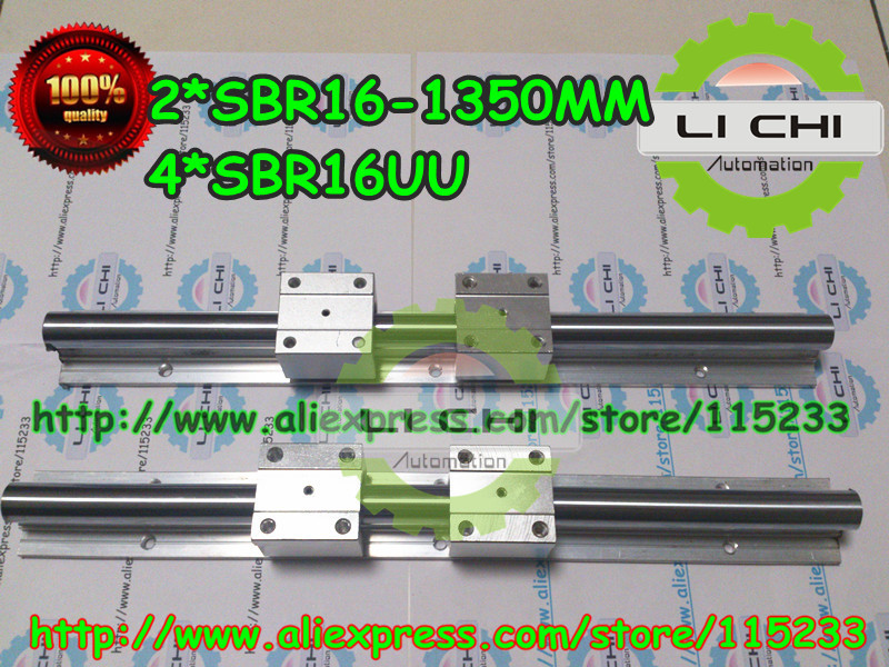 ФОТО Top sell :2pcs SBR16- L1350mm Linear guide + 4pcs SBR16UU Linear Motion Bearing Blocks (can be cut any length)
