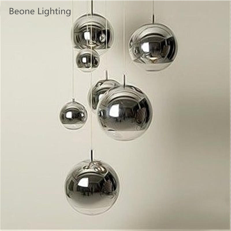 Modern Decorative D40/45/50cm e27 led Plated Glass Mirror Ball Pendant Lights Lamp Pendant Lighting Dining Room Bedroom Shop