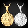 Moeda do dólar Colar de Homens/Mulheres Colar Pingente EUA Sinal do Dinheiro Cadeia Banhado A Ouro Moda Jóias P1402
