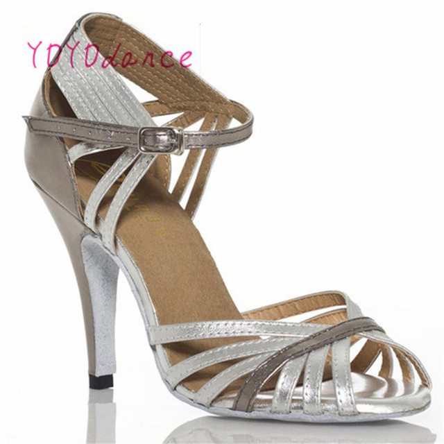 Gold Silver Latin Modern Dance Shoes Soft Outsole Female Square 6 7.5cm,8.5cm Thin Heel Athletic Ballroom Dancing Shoes