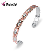RainSo Healthy Charm Bangles for Lady Cuff Copper Bangles Bracelets for Arthritis Drop-ship Female Fashion Jewelry Wristband(China)