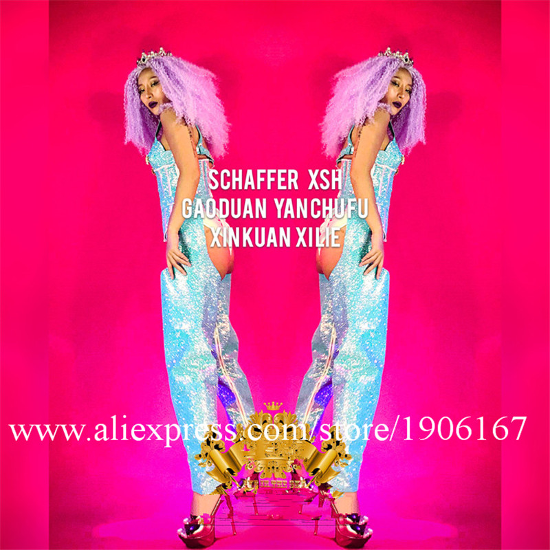 Nightclub GOGO Laser Blue Super Flash Fabric Sexy Costume Female Female Singer Costume05