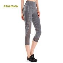Cheville Longueur Sexy Mesh Femmes De Yoga Pantalon avec Poches Marque  Gymnases Running Fitness Legging le c3e8ab5c1ad