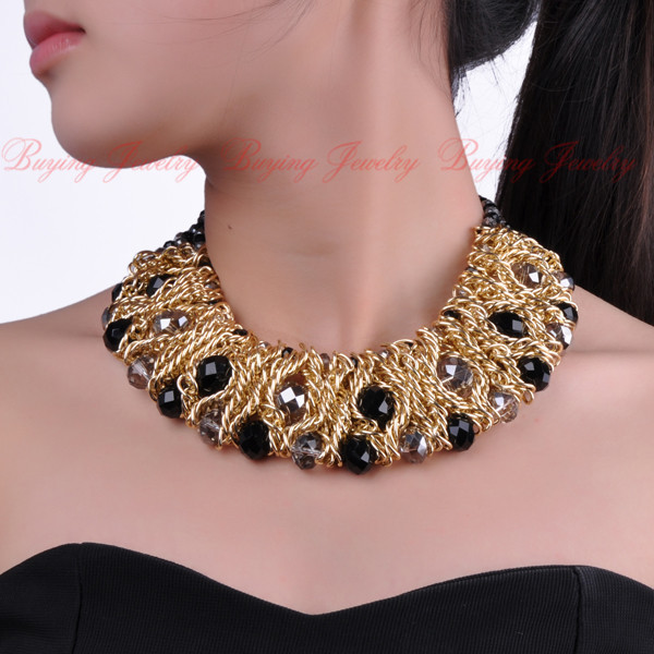2014 Top New Spring-Summer Design Fashion Jewelry Free Shipping Gold Chain White Crystal Bib Statement Necklace
