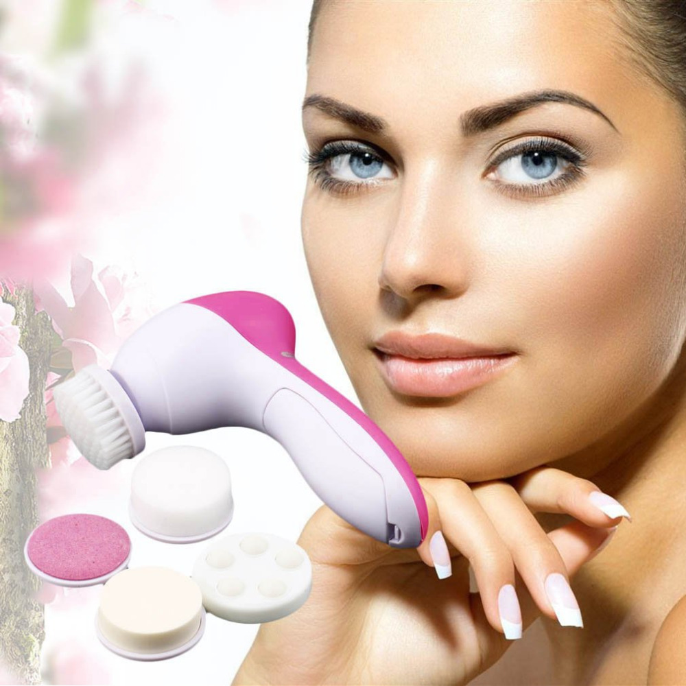 Home Personal 5 In 1 Electric Wash Face Machine Facial Pore Cleaner Body Cleansing Massage Mini Skin  Brush