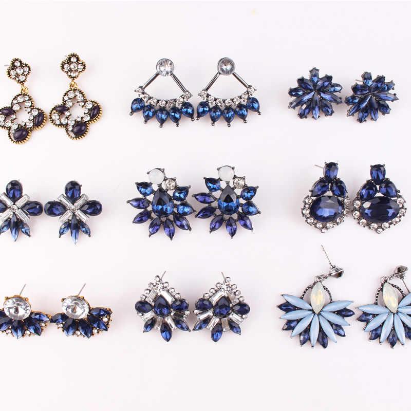 LUBOV 32 種類幾何クリスタルブルー石イヤリングゴールドシルバードロップイヤリング流行の女性のパーティージュエリー