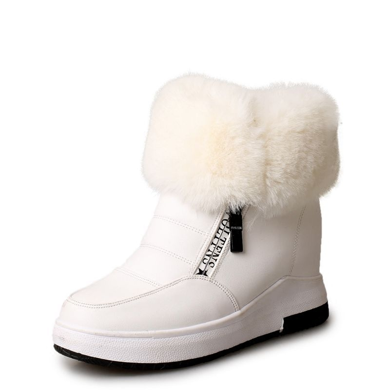 Women ankle boots high quality height increasing snow boots turned-over thick plush winter shoes zipper women boots