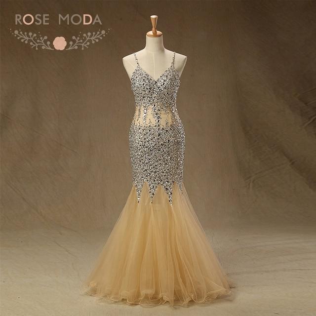 Rose Moda Gold Abendkleid 2018 Durchsichtig Wulstige Nixe ...