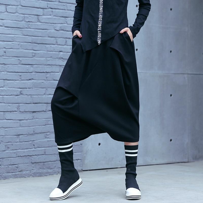 Grande taille femmes Streetwear Hip Hop gothique large jambe pantalon femme mode surdimensionné décontracté Cross pantalon Kimono jupe pantalon