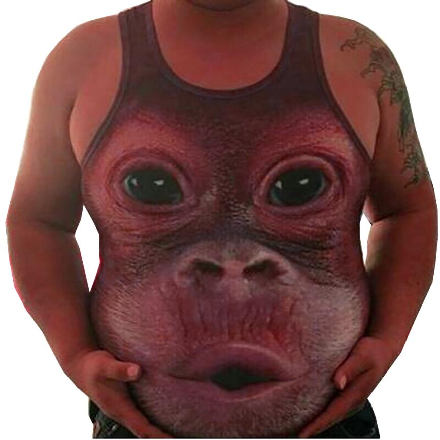 snowshine YLI Men Plus Size Elastic Sleeveless Obesity Tops Tank Vest O-Neck Blouse