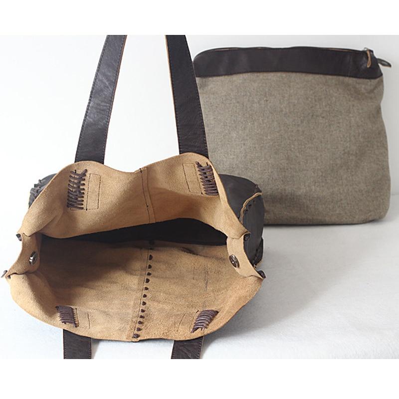 Vintage Simple Nature sac à main en cuir de vache pour les femmes sacs composites en cuir véritable sac à bandoulière grande taille à la main tricot - 5