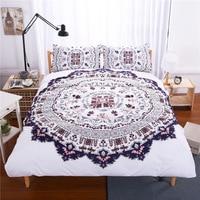 DeMissir Round Floral Pattern White Duvet Set King Queen Ful Twin Double Size 3Pcs Bedding Set edredon