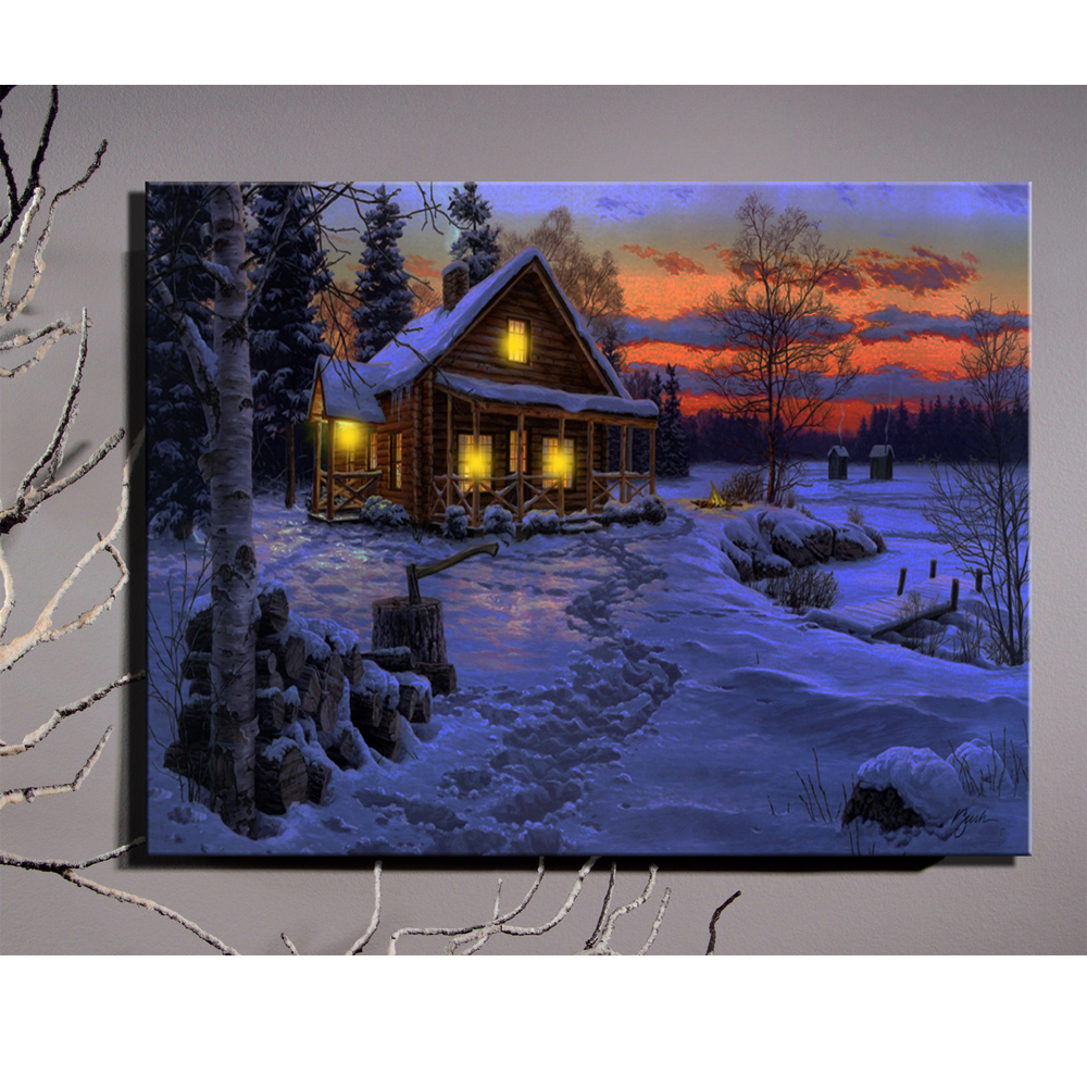 canvas wall art with led lights up illustrated village cottages with oak tree at sunset picture. Black Bedroom Furniture Sets. Home Design Ideas