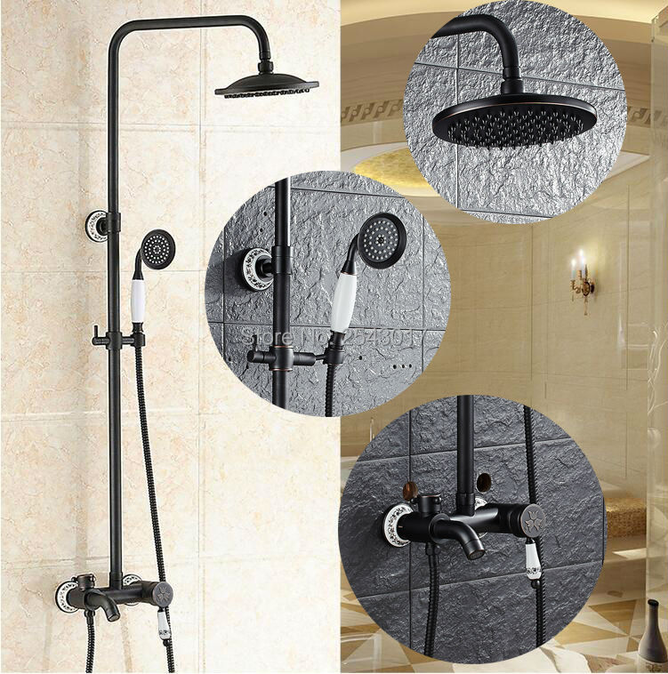Amiable Bathroom Shower Set Black Bronze Single Handle Fashion Bath Shower Mixer With Handheld Shower Porcelain Zr61 Home Improvement