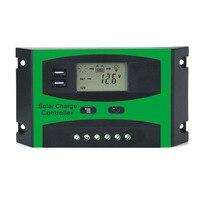 LCD 10A 20A 30A PWM 12 V 24 V Système Solaire Contrôleur Double USB 5VDC Sortie PV kit Panneau Batterie chargeur Régulateur