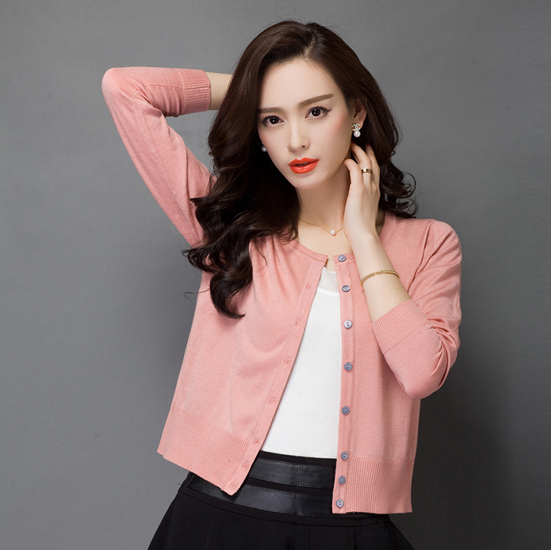 High Quality Spring Women's Pure Color Knitwear Cardigan Elegant Ladies Solid Color O-neck Thin Knit Outwear Coat