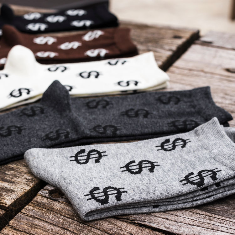 Fashion Men Socks Creativity Dollar Pattern Casual Crew Socks Cotton Skarpetki Harajuku Happy Funny Calcetines Hombre