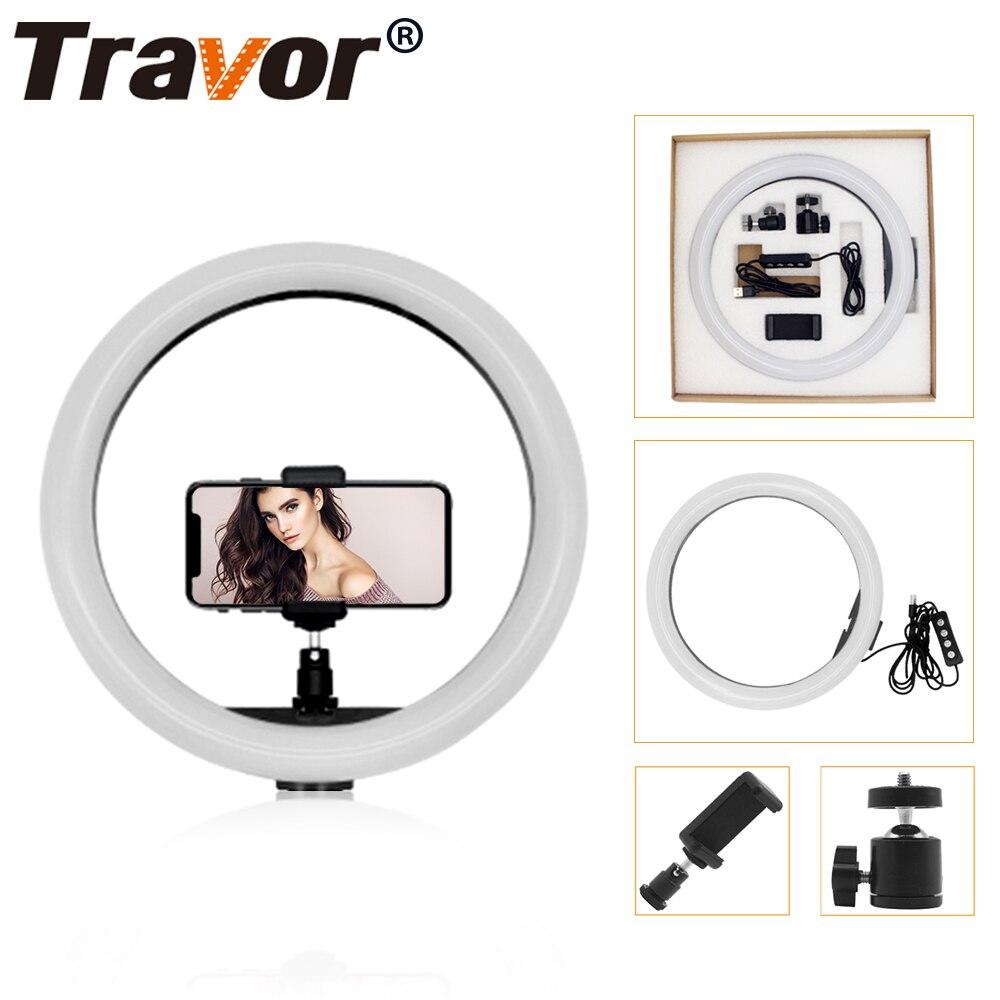 Travor 12 inch/30 cm LED Selfie Ring Licht drei geschwindigkeit Stufenlose Beleuchtung Dimmbar Mit Wiege Kopf Für Make-Up video Live Studio