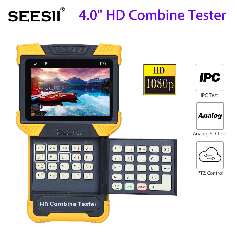 SEESII T60 4.0 HD 1080P 800X480 Combine Tester LED IPC CCTV IP PAL/NTSC Analog Camera Test ONVIF PTZ Control Handheld