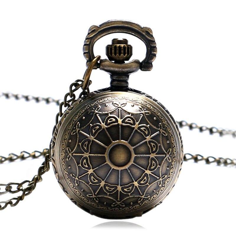 Antique Bronze Quartz Steampunk Pocket Watch Spider Web Hollow Women Men Pendant Vintage Necklace Chain Gifts Relogio De Bolso