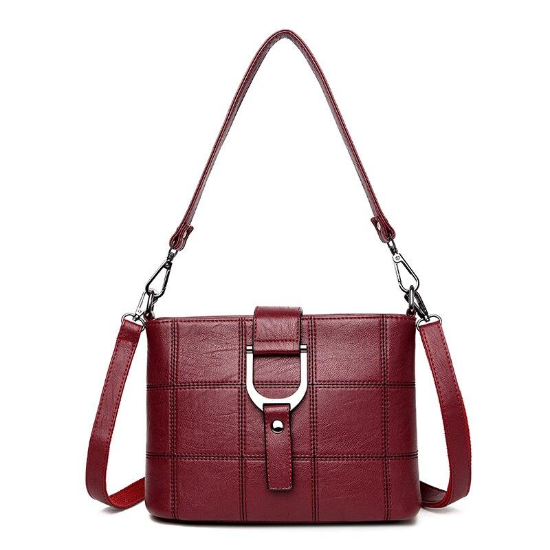 KMFFLY Red Thread Women Shoulder Bags Designer PU Leather Messenger Bags Female Luxury Casual Flap Crossbody Bags Bolsa Feminina