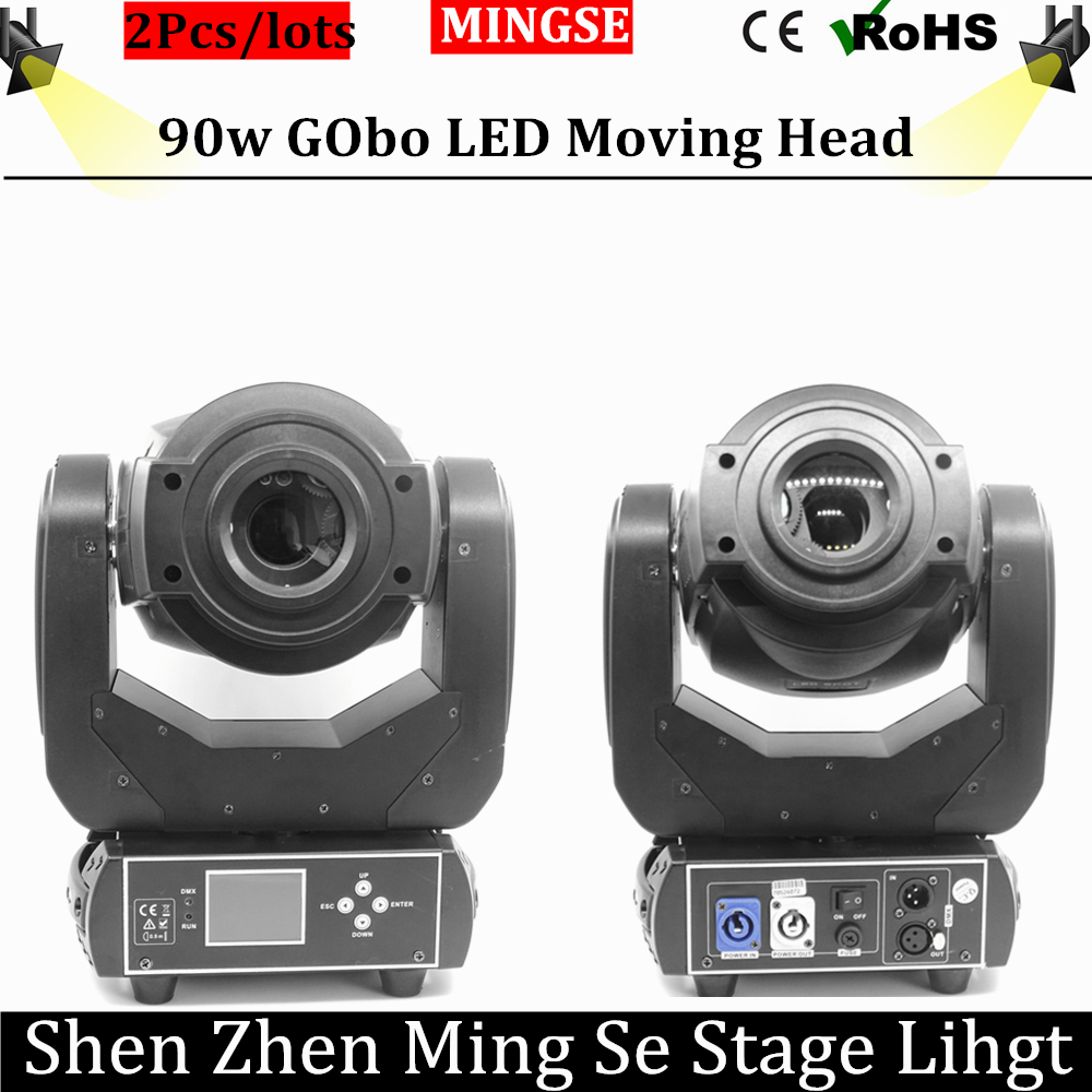 2Pcs/lots 90W LED Gobo Moving Head Light 3 Face Prism Spot Light with Rotation Gobo Function for DJ Disco Stage  Projector